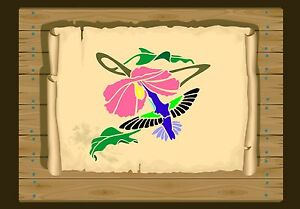 Hummingbird-with-Hibiscus-Flower-Stencil-350-micron-Mylar-not-thin-stuff-Bird030