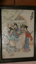"ANTIQUE 19C CHINESE PORCELAIN HAND PAINTED FAMILLE VERTE PLAQUE ""THREE WOMEN"""