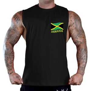 406617a1e Men's Jamaica Flag Chest Black T-Shirt Tank Top MMA Soccer Jamaican ...