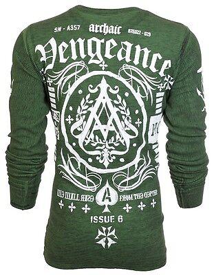 Archaic AFFLICTION Mens THERMAL T-Shirt VENGEANCE Biker UFC American Fighter $58