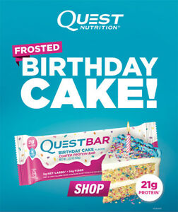 Details About Quest Nutrition Protein Bar FROSTED BIRTHDAY CAKE Gluten Free