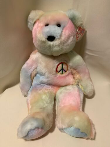 1999 TY Beanie BUDDY Plush PEACE BEAR Tye Die Stuffed Teddy Vintage PRISTINE!