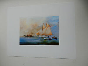 SAILBOAT amp STEAMER An attractive modern fine art print suit  gift to frame - <span itemprop='availableAtOrFrom'>Skipton, United Kingdom</span> - SAILBOAT amp STEAMER An attractive modern fine art print suit  gift to frame - Skipton, United Kingdom