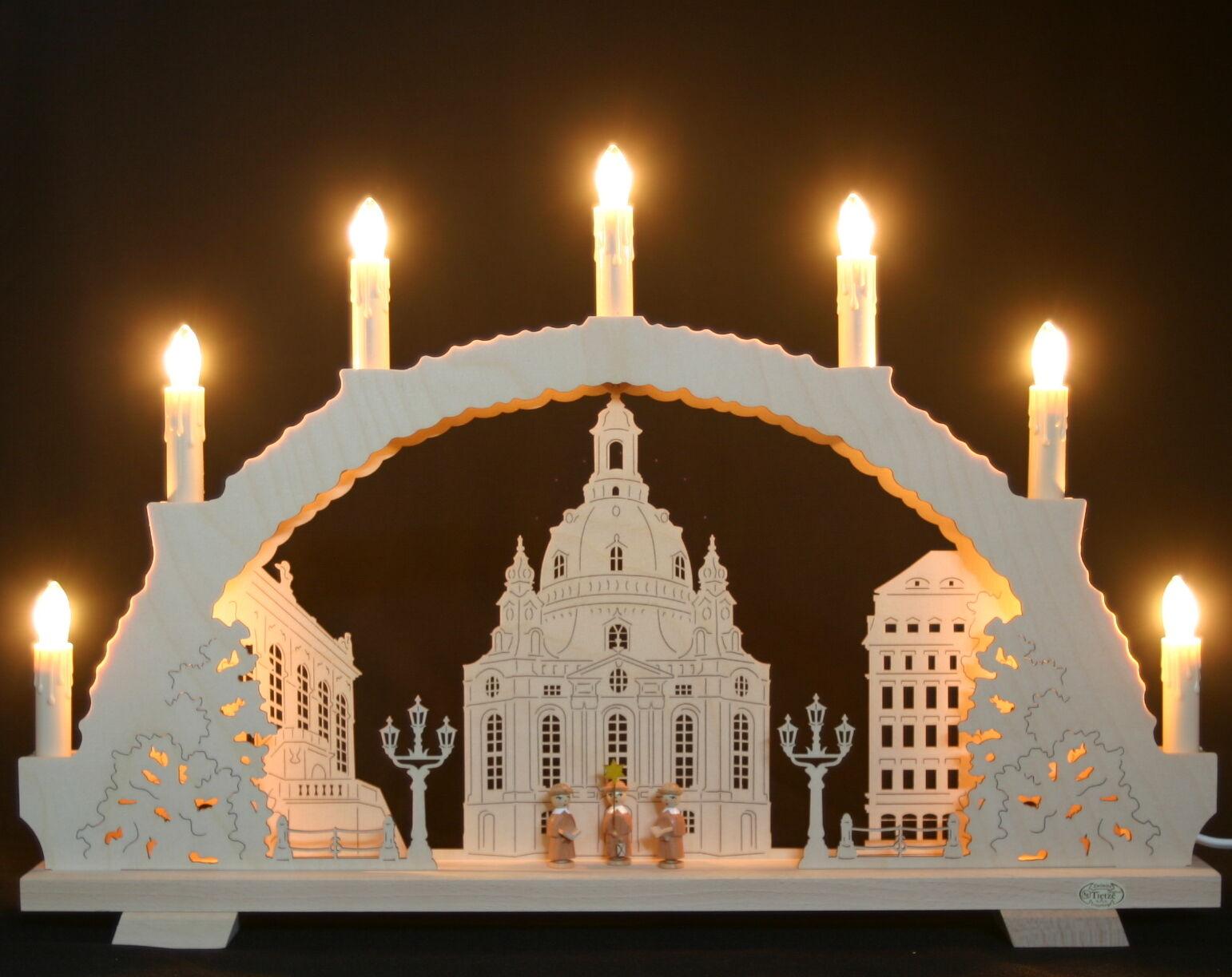 3d-Schwibbogen 7 velas mujeres iglesia Dresden 53cm Erzgebirge luces arco nuevo