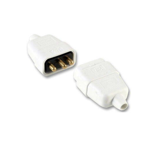 3 Pin Rubber White Mains Electrical 250V 10 Amp Inline In-Line Connector Extend