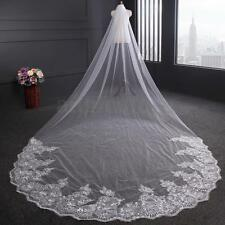 4m White / Ivory Luxury 1T Cathedral Wedding Lace Sequins Long Veil With Comb