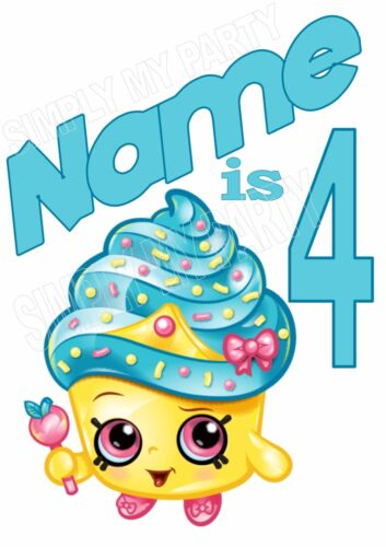 STICKER T-SHIRT TRANSFER SHOPKINS BIRTHDAY PERSONALISED IRON ON TRANSFER
