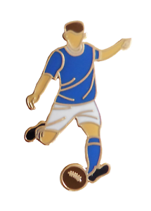 Royal Blue & White Football Player Gold Plated Pin Badge