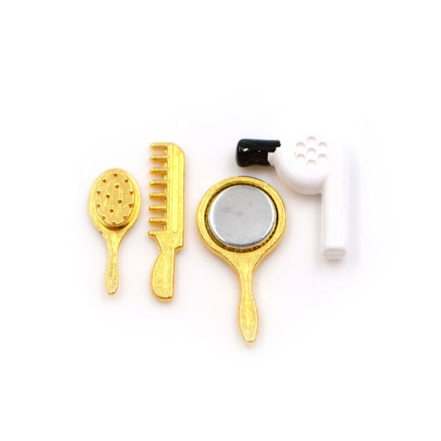 1/12 Doll House Miniature Accessory Hair Dryer Comb Mirror Set  Z