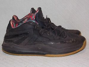 reputable site 44de2 74ffd Image is loading Nike-Max-Lebron-XI-Low-642849-078-Black-