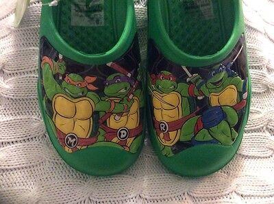 NEW Boys TMNT Large 2-3 Clogs Ninja Turtles Water Shoes Sandals Slip On Pool