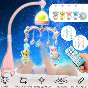 Musical Crib Mobile Baby Toys Bed Hanging Bell Rattle Night Light