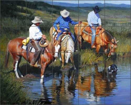 Ceramic Tile Mural Backsplash Fawcett Western Rancher Horse Art JFA016