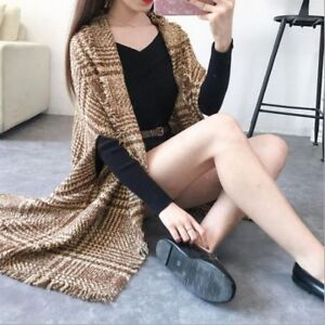 fadae54b029 New Ladies Women s Cable Knitted Poncho Sweater Jumper Top UK Plus ...