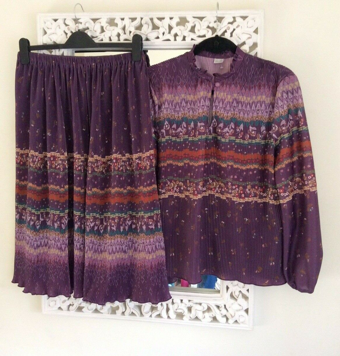 Vintage Purple Patterned Plisse Skirt and Top Co-Ord, UK Size 10-12 Immaculate
