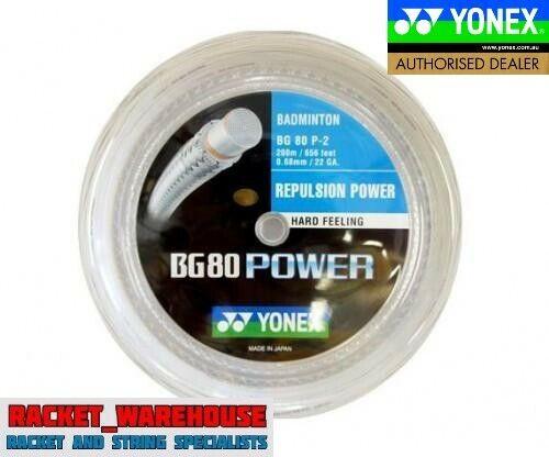 YONEX BG80 POWER 200M COIL BADMINTON RACKET STRING WHITE COLOUR