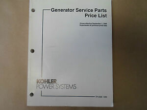 1994 Kohler Power Sysytems Marine Generator Price List TP-5426 OEM ...