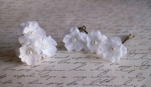 Small white flower hair pins set of six weddings bridal image is loading small white flower hair pins set of six mightylinksfo
