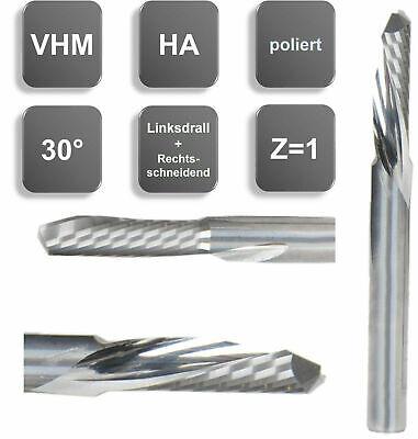 3//4// 5//6 mm Sonderbeschichtung Z=1 d2=3 mm VHM Einzahnfr/äser linksspirale Gr/ö/ße: 3,00 x 12 x 50 rechtsch