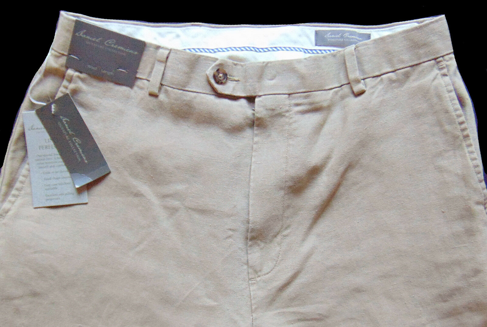 Men's DANIEL CREMIEUX Khaki Tan LINEN Pants 38x32 NEW NWT