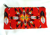 Beaded Tote Bag Native American Design Fabric Lined Zips Close 7x3.5 Red