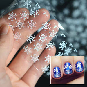 Image is loading CHRISTMAS-SILVER-SNOWFLAKES-Nail-Art-Foil-Transfer-Glitter-
