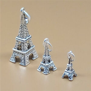 15863555b8f6e Details about 2 Sterling Silver Eiffel Tower Charms 3D France Travel  Bracelet Necklace Pendant