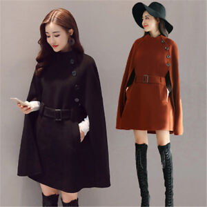 WOmen-039-s-Wool-Blend-Loose-Belt-poncho-Cloak-Cape-Outwear-Jackets-Dust-Coats
