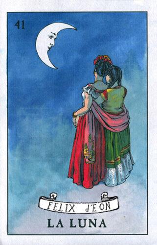 La Luna Lesbian Loteria Mexican Female Drawing Queer Love Art Felix dEon Poster
