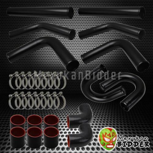 "FOR HONDA//ACURA//TOYOTA//MAZDA 3.0/"" 8PC BLACK ALUMINUM FMIC U PIPING KIT BLACK HOS"