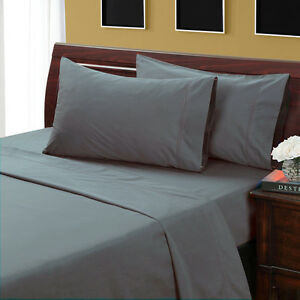Attirant Image Is Loading QUEEN SIZE GRAY SOLID BED SHEET SET 800