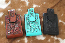 Western Leather Cell Phone  Case Tooled Magnetic Closure Fits All
