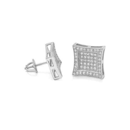 14K White Gold Sterling Silver Diamond Square Kite Screw Back Men Stud Earrings