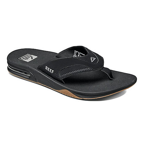 REEF NEW Men's Flip Flops Black Fanning Summer Sandals BNWT