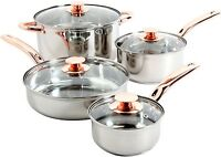 Cookware Set With Copper Handles Eight Piece Stainless Steel Kitchen Utensil New