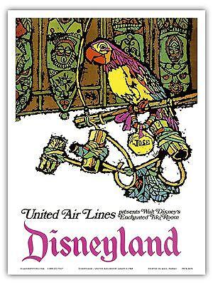 Hawaii Tiki  1971 Vintage Travel Poster Print United Air Lines