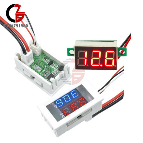DC 4V-30V//100V 10A Red+Blue LED Voltage Panel Voltmeter Ammeter Volt Gauge Meter