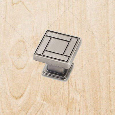 Cabinet Hardware Square Knobs ku55 Weathered Nickel pull 1-1/8""