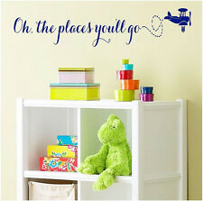 Oh the places you'll go kids Vinyl wall decal words quotes lettering sticker