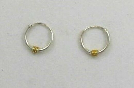 925 Sterling Silver 10mm Endless Hoop with 14K Gold Accent Earrings