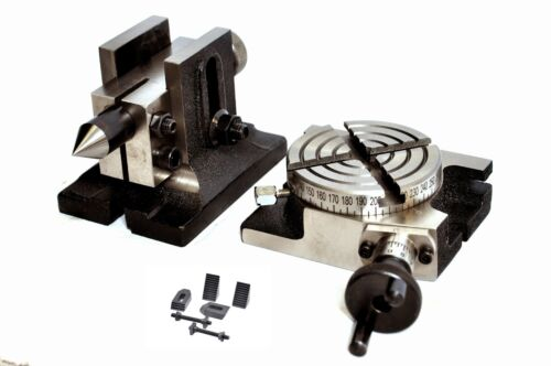 """ROTARY TABLE 3/"""" 75mm WITH TAILSTOCK /& M6 CLAMPING KIT"""