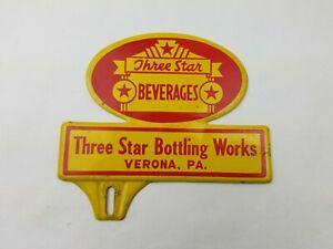 "Vintage ""Three Star Beverages"" Verona PA. License Plate Topper"