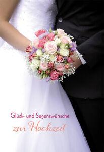 Glückwunschkarte Hochzeit Brautstrauß 6 St Kuvert Brautkleid Segen Liebe Herz