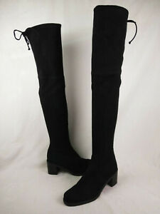 Stuart-Weitzman-Darla-Over-The-Knee-Black-Stretch-Suede-Boots-Womens-Size-6-M-US