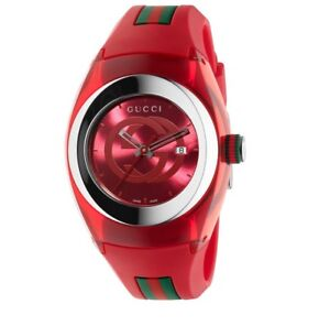 604e439dac6 Image is loading Gucci-Sync-XXL-Red-Rubber-Red-Dial-Watch-