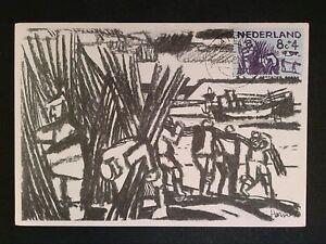 NIEDERLANDE-MK-1959-DELTAWERK-HOLZARBEITER-MAXIMUMKARTE-MAXIMUM-CARD-MC-CM-c8139