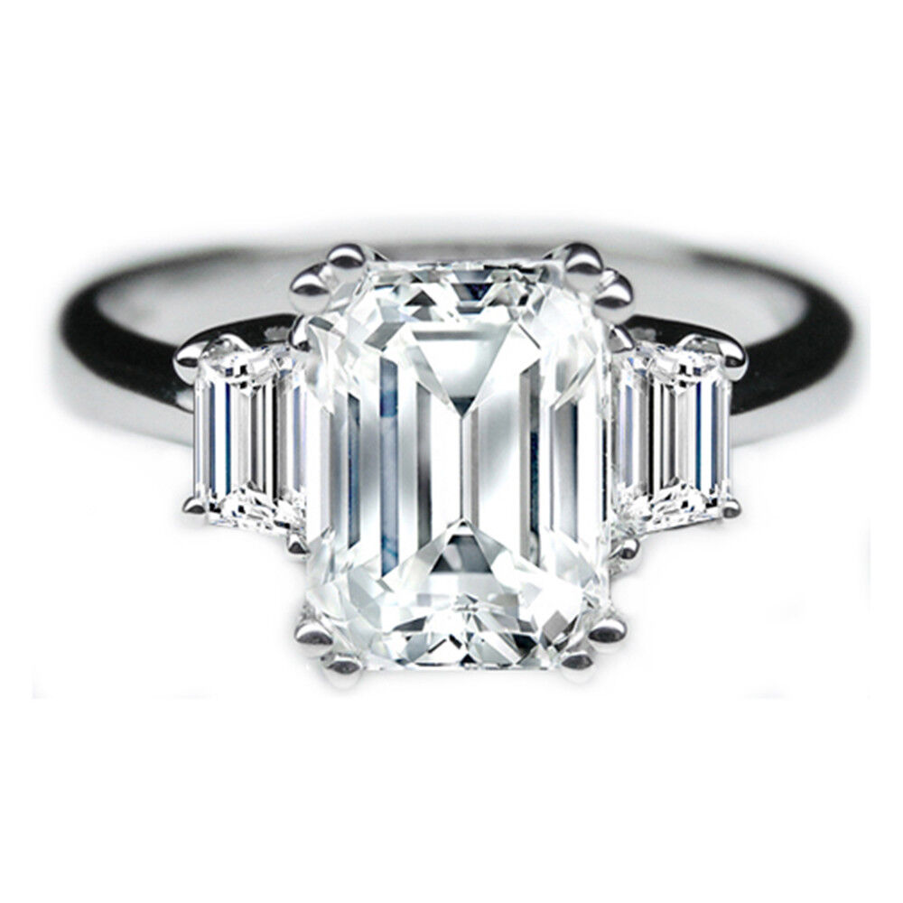 14 K White gold Diamond Engagement Wedding Ring Emerald Cut D VVS1 Size 5 6 7 8