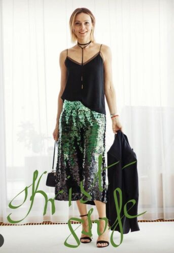Trousers Sequin Green Culottes Zara Ref Taille Small 239 7568 Nouveau ZqEwEtd5Ux