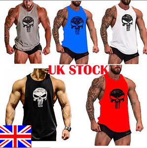 UK-Punisher-Skull-Men-Gym-Muscle-Shirt-Tank-Top-Bodybuilding-Sport-Fitness-Vest
