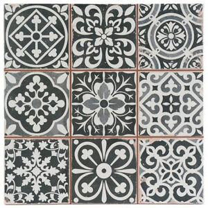 Victorian Marrakesh Black Decor Wall Floor Tile 33x33cm